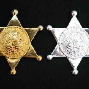 Sheriffstern aus Metall gold und silbern