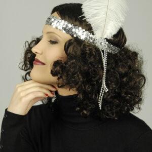 Haarband Pailletten silber mit Feder