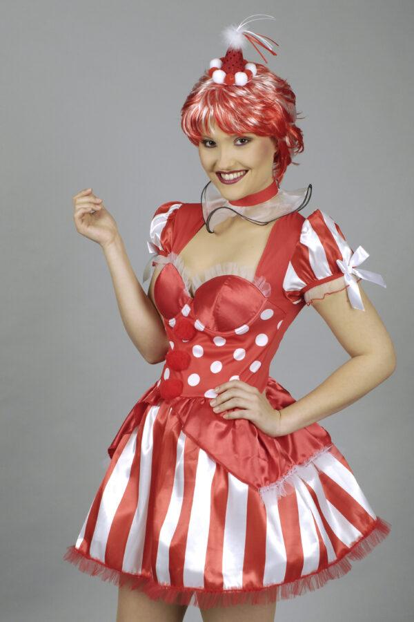 Damenkostüm Clown rot 2teilig Gr. 40-42