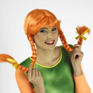 Perücke Lotta Zöpfe orange