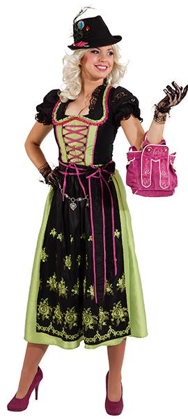 Dirndl Lotti lang schwarz-grün-pink Gr. 44 reduziert