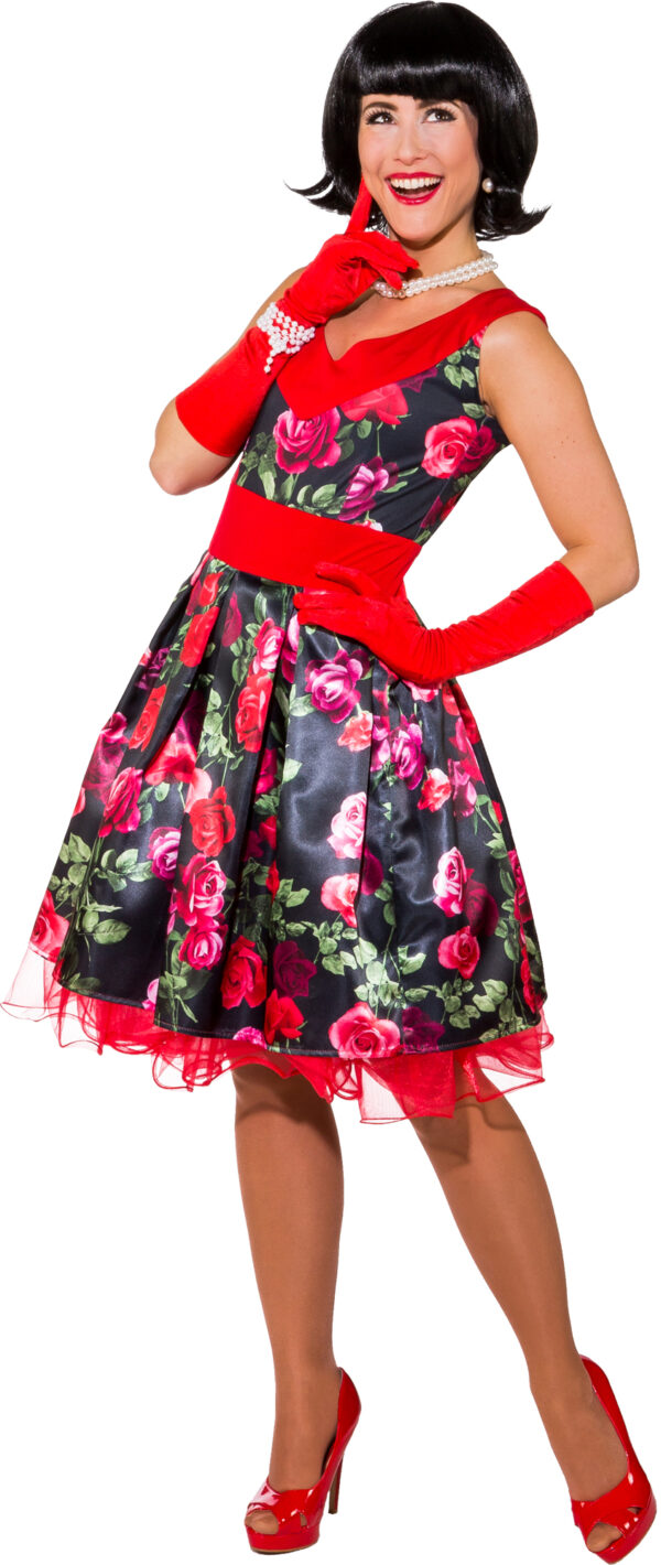Kleid Blumen 50er (Kleid m. Petticoat) Gr. 46