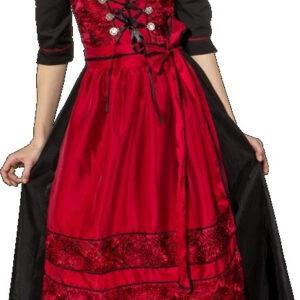 Dirndl lang, rot-schwarz (Kleid gefüttert m. Bluse u. Schürze) Gr. 42