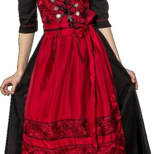 Dirndl lang, rot-schwarz (Kleid gefüttert m. Bluse u. Schürze) Gr. 44