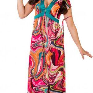 Hippie Kleid (Kleid, Haarband, Armband) Gr. 46/48