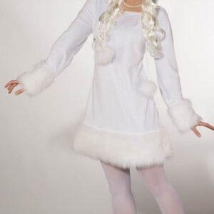 Einhorn Kleid, weiß (Kleid m. Kapuze) Gr.42/44
