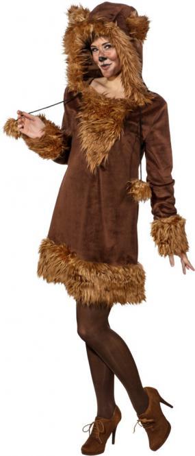 Bären Kleid, braun (Kleid m. Kapuze) Gr.42/44