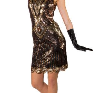 Paillettenkleid 20er schwarz-gold Gr. L-XL