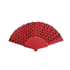 Fächer rot mit schwarzen Punkten