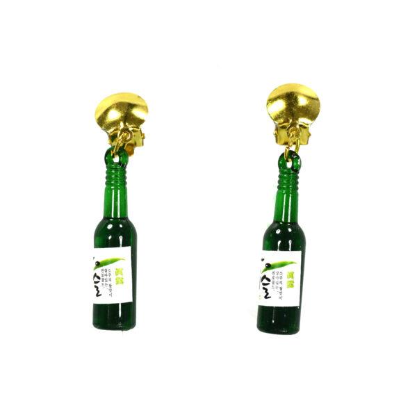 1 Paar Ohrringe Bierflasche grün
