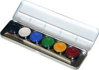6 Farben Metall-Palette, im Metalletui und 1 Profi-Pinsel