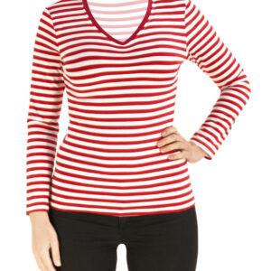 Ringelshirt Damen langarm rot-weiß tailliert Gr.XL