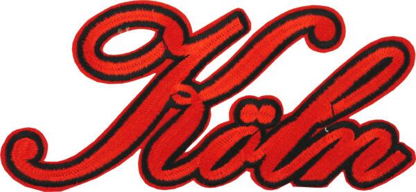 Bügelbild Schriftzug Köln groß rot 18x8cm