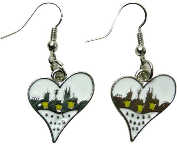 1 Paar Ohrringe Herzwappen Skyline silber