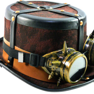 Steampunkhut (Kofferlook/braun) mit Brille