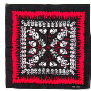 Halstuch Totenköpfe mit Knochen schw/weiss/rot