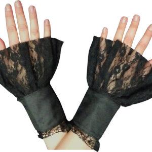 Damen Handstulpen Steampunk schwarz