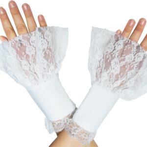 Damen Handstulpen Steampunk weiß