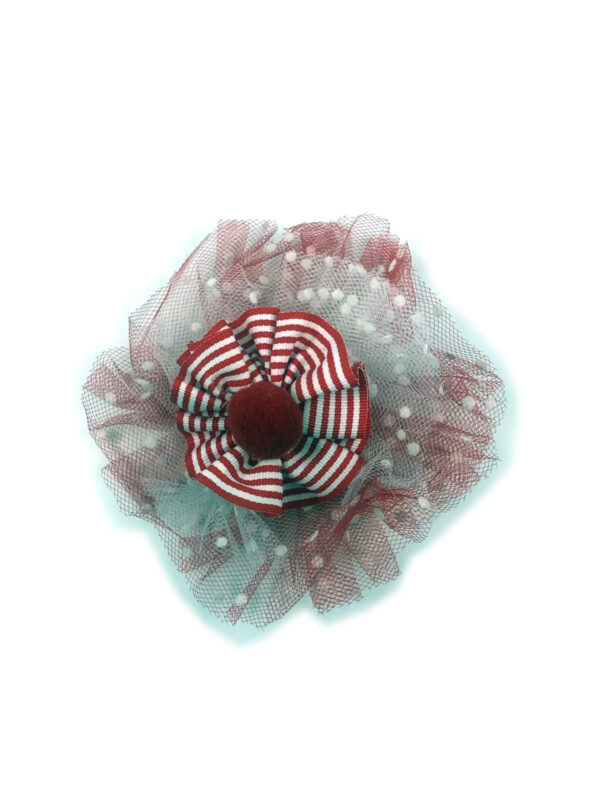 Ansteckbrosche mit Tüll rot-weiß