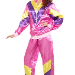 80's Height of Fashion Shell Suit Costume, Pink, with Jacket and Trousers, in Display Bag