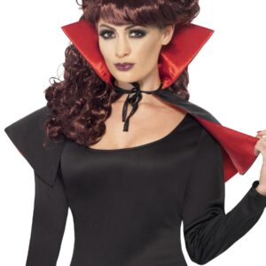 Mini Vamp Cape, Red and Black, w
