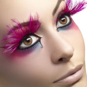 Eyelashes, Pink, with Feather Plumes, Contains Glue, in Display Box