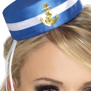 Pill Box Sailor Hat, Blue, in Display Pack