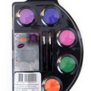 Schminkpalette mit 6 Neonfarben