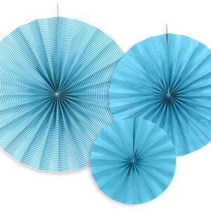 Set mit Deko Wabenfächern Blau