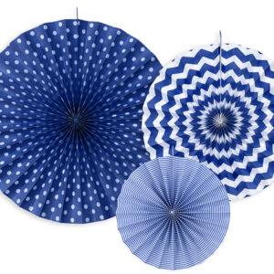 Set mit Deko Wabenfächern Marineblau