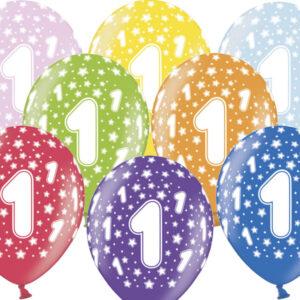 6 Latexballons im Farbenmix - 1.Geburtstag