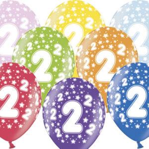 6 Latexballons im Farbenmix - 2.Geburtstag