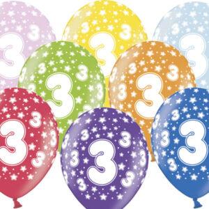 6 Latexballons im Farbenmix - 3.Geburtstag