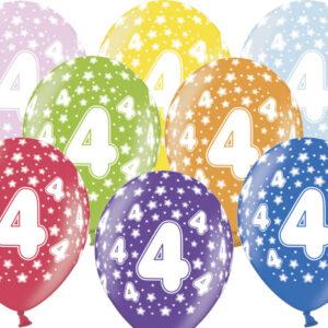 6 Latexballons im Farbenmix - 4.Geburtstag