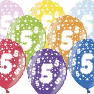 6 Latexballons im Farbenmix - 5.Geburtstag