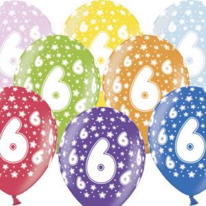 6 Latexballons im Farbenmix - 6.Geburtstag