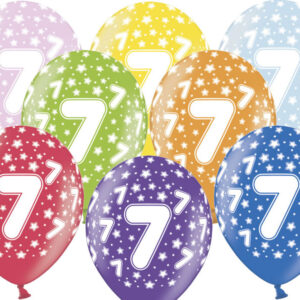6 Latexballons im Farbenmix - 7.Geburtstag