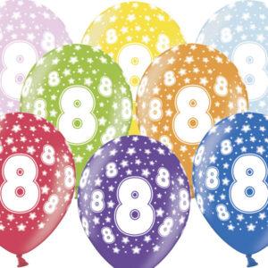 6 Latexballons im Farbenmix - 8.Geburtstag