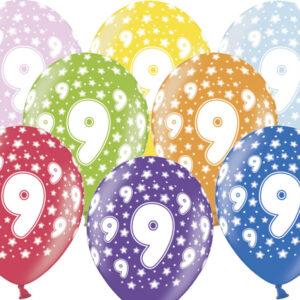 6 Latexballons im Farbenmix - 9.Geburtstag