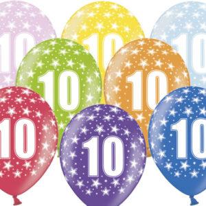 6 Latexballons im Farbenmix - 10.Geburtstag