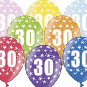 6 Latexballons im Farbenmix - 30.Geburtstag