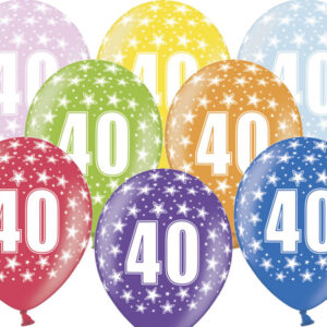 6 Latexballons im Farbenmix - 40.Geburtstag