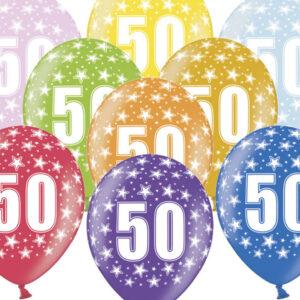 6 Latexballons im Farbenmix - 50.Geburtstag