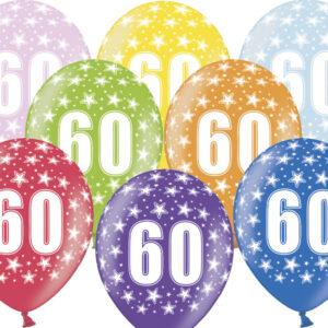 6 Latexballons im Farbenmix - 60.Geburtstag