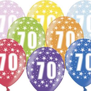 6 Latexballons im Farbenmix - 70.Geburtstag