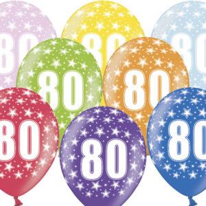 6 Latexballons im Farbenmix - 80.Geburtstag