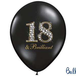 6 Latexballons Pastel Black, 18 & Brilliant