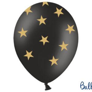 6 Latexballons Pastel Black, goldene Sterne