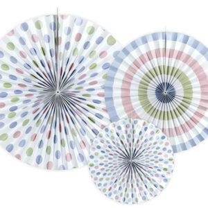 Set mit Deko Wabenfächern Farbenmix