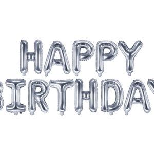 Folienballon Happy Birthday, 340x35cm, silber